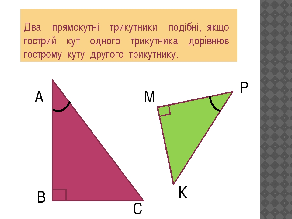 Два прямокутні трикутники подібні, якщо гострий кут одного трикутника дорівн...