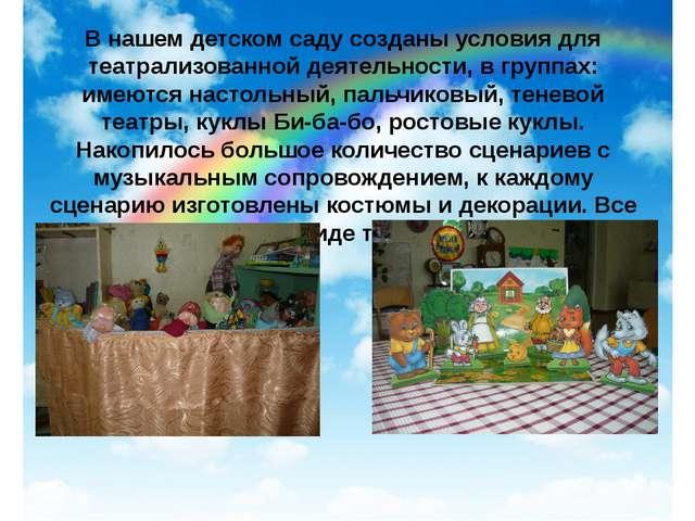 В нашем детском саду созданы условия для театрализованной деятельности, в гру...