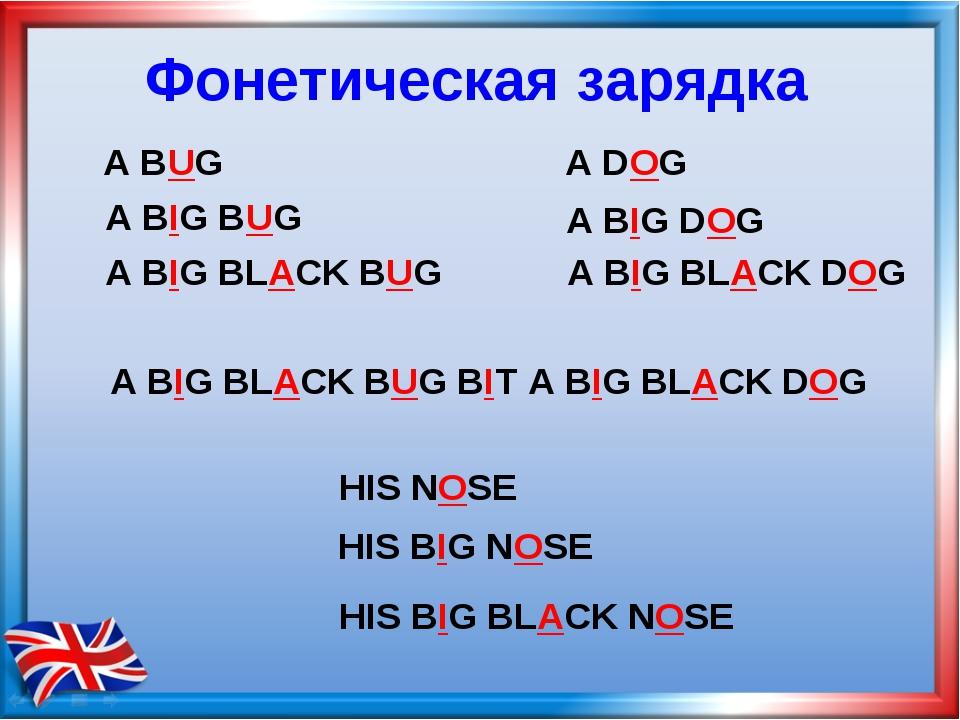 Фонетическая зарядка A BIG BLACK DOG A BUG A BIG BUG A BIG BLACK BUG A DOG A...