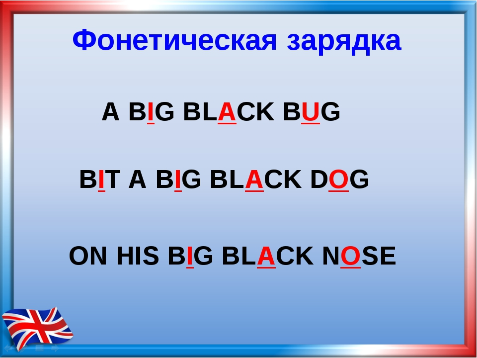 ON HIS BIG BLACK NOSE Фонетическая зарядка A BIG BLACK BUG BIT A BIG BLACK DOG