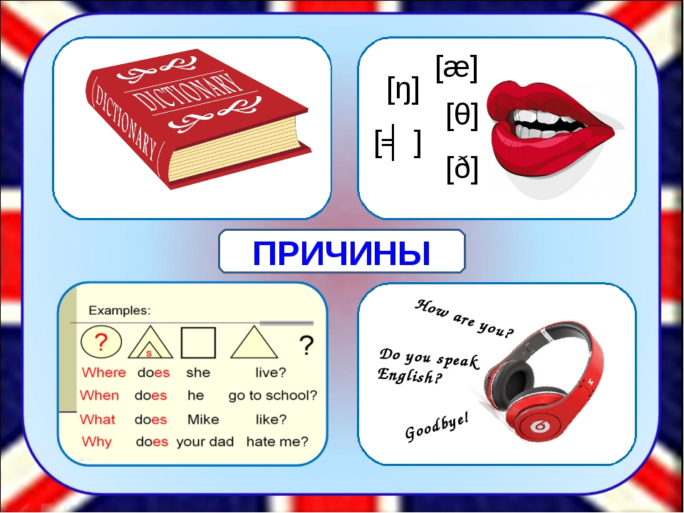 [æ] [θ] [ŋ] [ʤ] [ð] How are you? Do you speak English? Goodbye! ПРИЧИНЫ