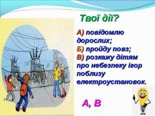 Твої дії? А) повідомлю дорослих; Б) пройду повз; В) розкажу дітям про небезп