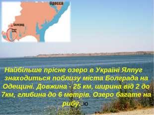 Найбільше прісне озеро в Україні Ялпуг знаходиться поблизу міста Болграда на