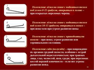 * Положение лёжа на спине с поднятым телом под углом 0-15 градусов, открытым