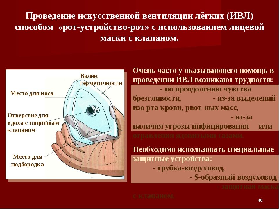 * Проведение искусственной вентиляции лёгких (ИВЛ) способом «рот-устройство-р...