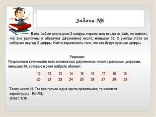 . Задача №6 Ваня забыл последние 2 цифры пароля для входа на сайт, но помнит