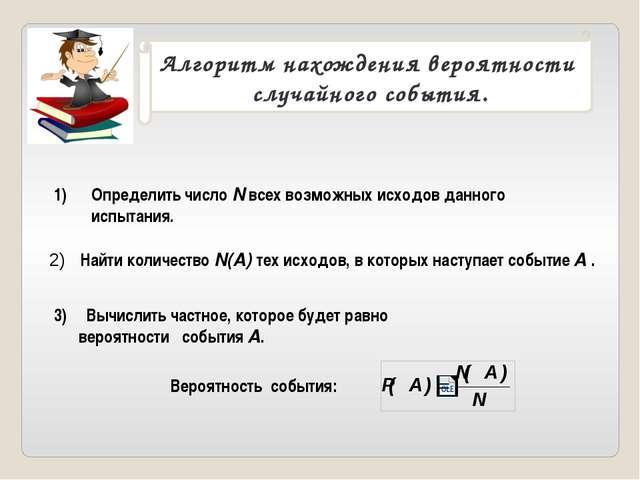 Алгоритм нахождения вероятности случайного события. Определить число N всех в...
