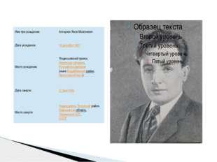 Имя при рождении: Алтаузен Яков Моисеевич Дата рождения: 14 декабря1907 Мест