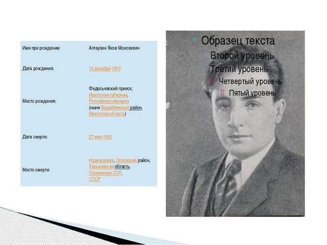 Имя при рождении: Алтаузен Яков Моисеевич Дата рождения: 14 декабря1907 Мест...