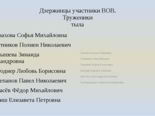 Дзержинцы участники ВОВ. Труженики тыла Монахова Софья Михайловна Постников П