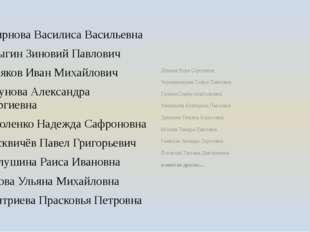 Смирнова Василиса Васильевна Батыгин Зиновий Павлович Поляков Иван Михайлович