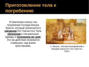 Приготовление тела к погребению В Евангелии описан чин погребения Господа Иис