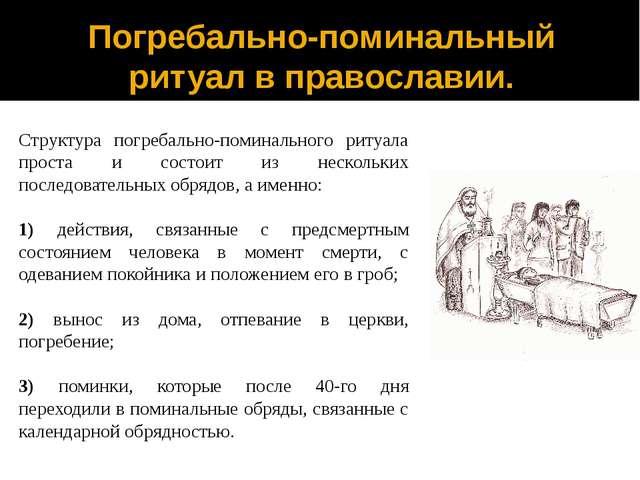 Погребально-поминальный ритуал в православии. Структура погребально-поминальн...