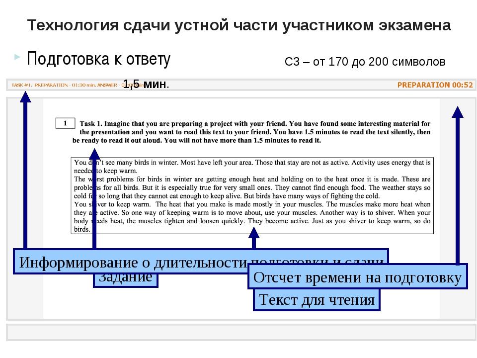 Технология сдачи устной части участником экзамена Подготовка к ответу * С3 –...