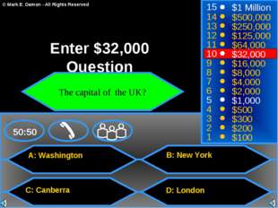 A: Washington C: Canberra B: New York D: London 50:50 15 14 13 12 11 10 9 8 7