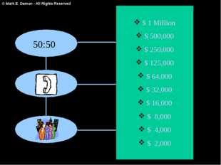 $ 1 Million $ 500,000 $ 250,000 $ 125,000 $ 64,000 $ 32,000 $ 16,000 $ 8,000