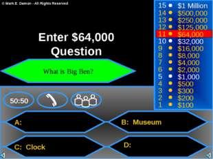 A: C: Clock B: Museum D: 50:50 15 14 13 12 11 10 9 8 7 6 5 4 3 2 1 $1 Million
