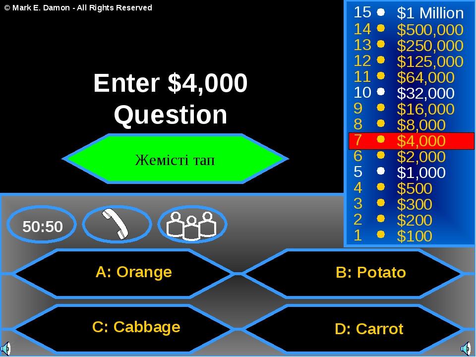 A: Orange C: Cabbage B: Potato D: Carrot 50:50 15 14 13 12 11 10 9 8 7 6 5 4...