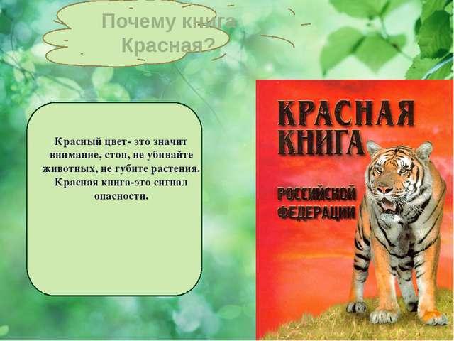 Красный цвет- это значит внимание, стоп, не убивайте животных, не губите рас...