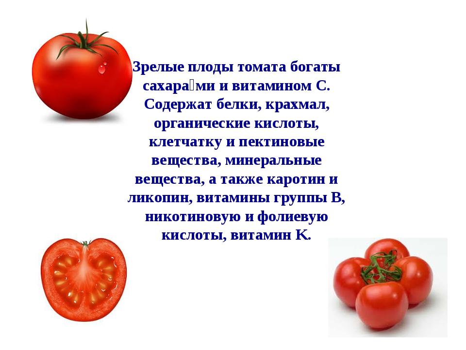 Зрелые плоды томата богаты сахара́ми и витамином C. Содержат белки, крахмал,...