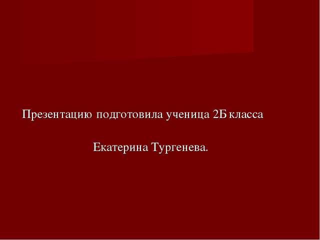 Презентацию подготовила ученица 2Б класса Екатерина Тургенева.
