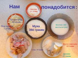 Мука Мука 350Грамм Нам понадобится : Мука 350Грамм Мука 350 грамм Сахар