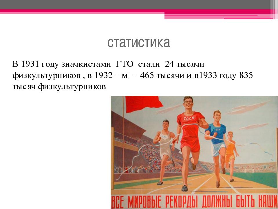статистика В 1931 году значкистами ГТО стали 24 тысячи физкультурников , в 19...