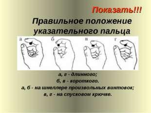 Правильное положение указательного пальца а, г - длинного; б, в - короткого.