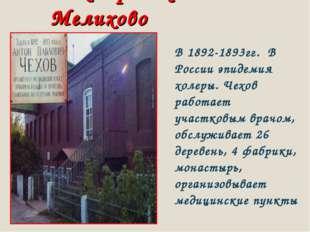 Доктор Чехов в Мелихово В 1892-1893гг. В России эпидемия холеры. Чехов работа