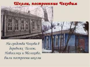 Школы, построенные Чеховым На средства Чехова в деревнях Талеж, Новоселки и М