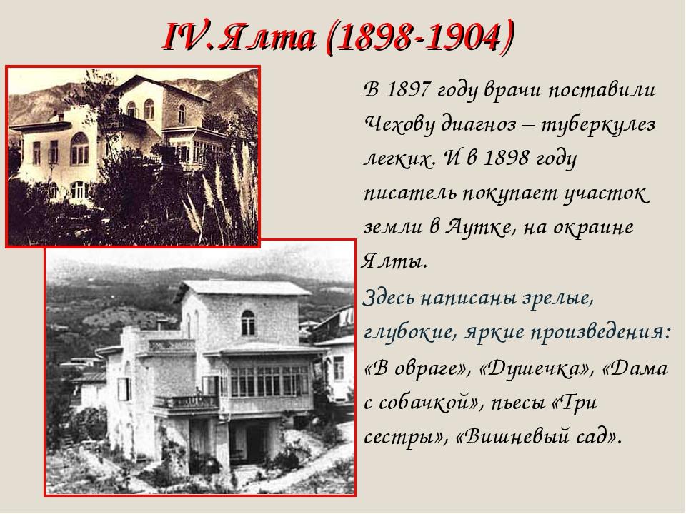 IV. Ялта (1898-1904) В 1897 году врачи поставили Чехову диагноз – туберкулез...