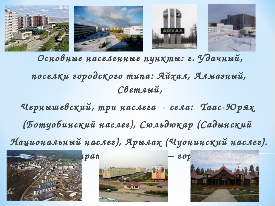 Основные населенные пункты: г. Удачный, поселки городского типа: Айхал, Алма...