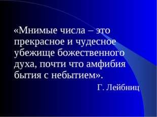 «Мнимые числа – это прекрасное и чудесное убежище божественного духа, почти