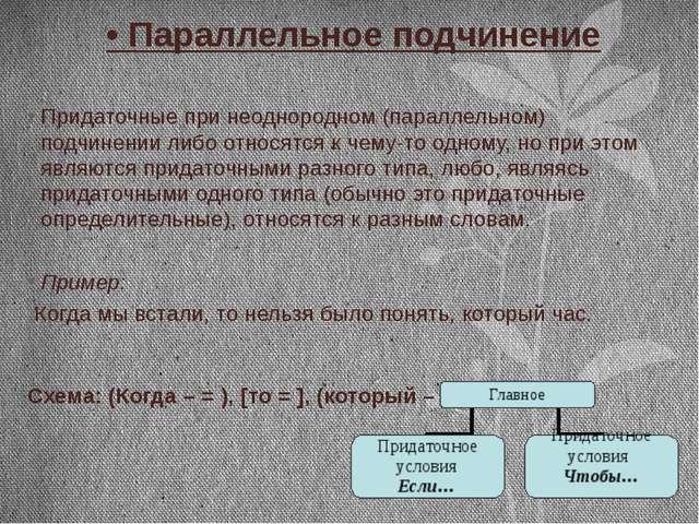 • Параллельное подчинение Придаточные при неоднородном (параллельном) подчине...