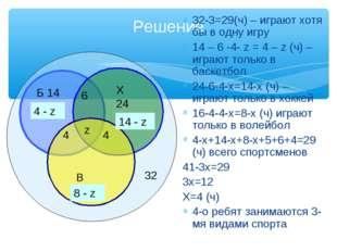 Решение 32-3=29(ч) – играют хотя бы в одну игру 14 – 6 -4- z = 4 – z (ч) –игр