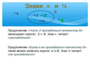 Знаки ∈ и ∉ a 2 m Предложение «Число 2 принадлежит множеству В» записывают к