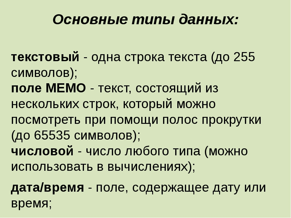 Основные типы данных: текстовый - одна строка текста (до 255 символов); поле...