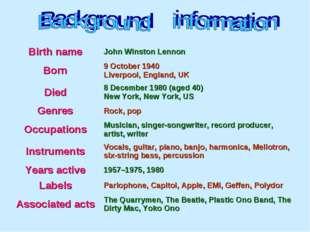 Birth name John Winston Lennon Born 9 October 1940 Liverpool, England, UK D