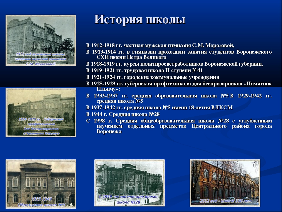 История школы В 1912-1918 гг. частная мужская гимназия С.М. Морозовой, В 1913...