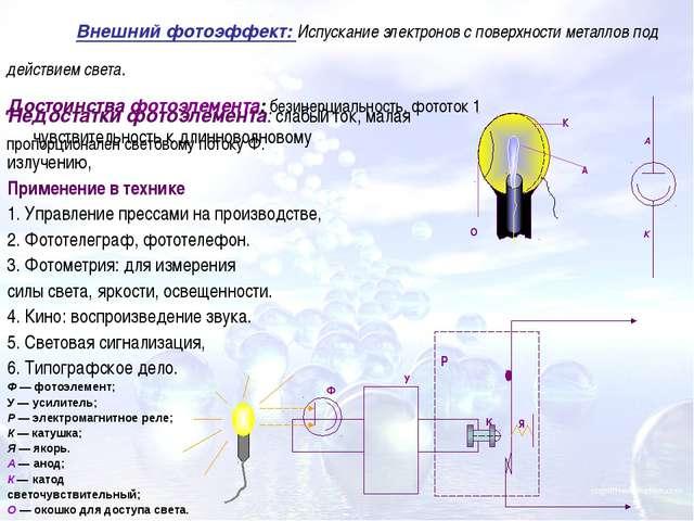 Недостатки фотоэлемента: слабый ток, малая чувствительность к длинноволновому...