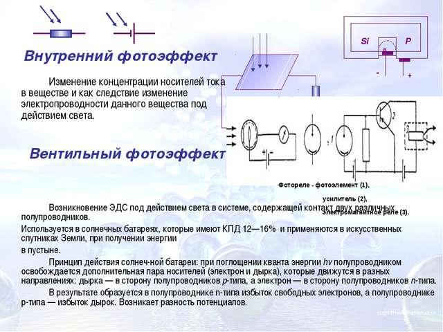 Возникновение ЭДС под действием света в системе, содержащей контакт двух ра...