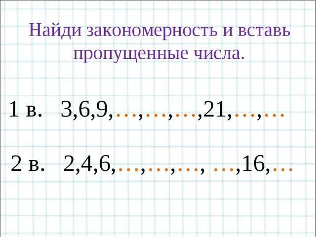 Найди закономерность и вставь пропущенные числа. 1 в. 3,6,9,…,…,…,21,…,… 2 в....