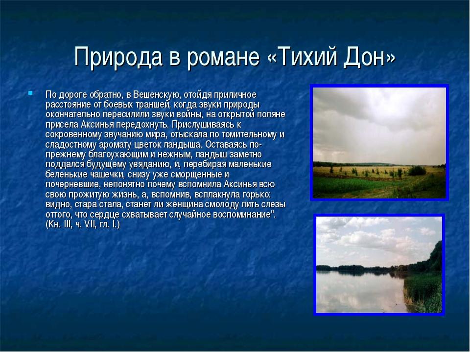 Природа в романе «Тихий Дон» По дороге обратно, в Вешенскую, отойдя приличное...