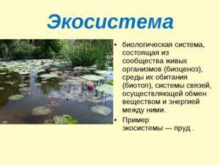 Экосистема биологическая система, состоящая из сообщества живых организмов (б