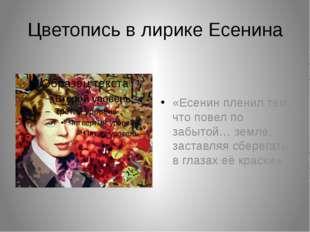 Цветопись в лирике Есенина «Есенин пленил тем, что повел по забытой… земле, з