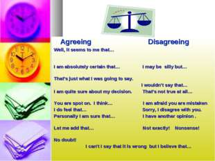 Agreeing Disagreeing Well, it seems to me that… I am absolutely certain that