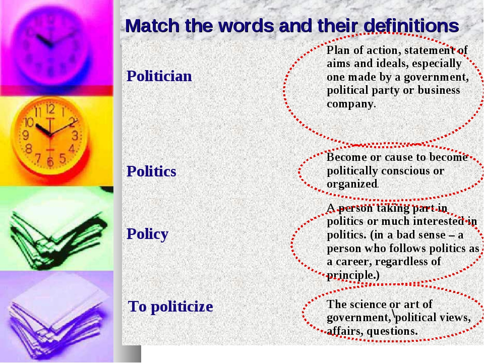 Match the words and their definitions \ Politician	Plan of action, statement...