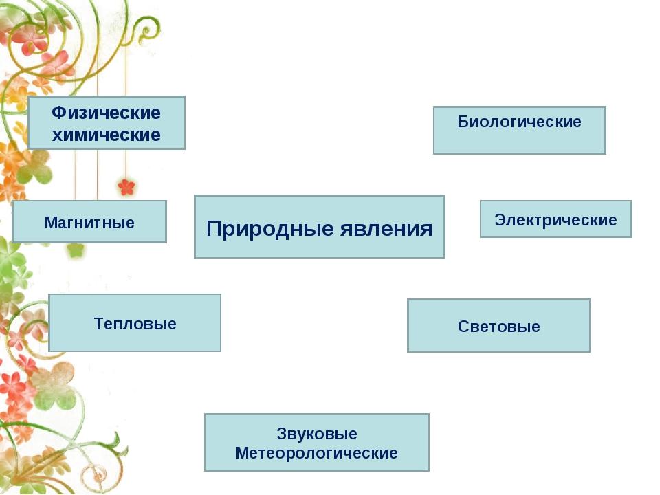 Природные явления Световые Тепловые Электрические Магнитные Физические химиче...