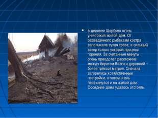 в деревне Щербово огонь уничтожил жилой дом. От разведенного рыбаками костра