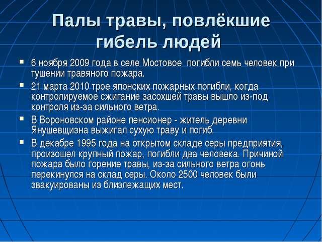 Палы травы, повлёкшие гибель людей 6 ноября 2009 года в селе Мостовоепогибл...